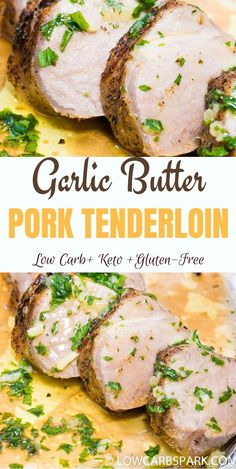 The best garlic butter pork fillet - keto & low carb .-Das beste Knoblauchbutter-Schweinefilet – Keto & Low Carb Dinner – The best garlic butter pork fillet – keto & low carb dinner – - Meat Recipes, Crockpot Recipes, Dinner Recipes, Cooking Recipes, Pork Tenderloin Recipes Crockpot, Easy Pork Tenderloin Recipes, Pork Chops, Pork Tenderloins, Dining