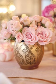 Pink + Gold- a magical combo for a shower! Dear Mila… {A Pretty in Pink Baby Shower} by Melody Melikian Photography Floral Centerpieces, Floral Arrangements, Pretty In Pink, Beautiful Flowers, Parfum Rose, Rosa Pink, Gold Vases, Gold Baby Showers, Rose Cottage