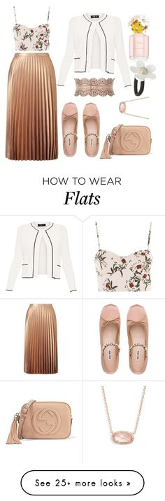 """flats v4"" by sila-sheila on Polyvore featuring Miss Selfridge, Miu Miu, Topshop, Alaïa, Gucci, Paule Ka, Kendra Scott and Marc Jacobs"