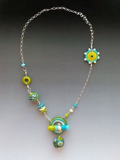 Tribal Necklace in Lime & Turquoise handmade by LisaInglertJewelry, $68.00