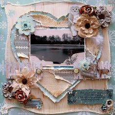 Tranquil Premade Scrapbook Page 12 x 12 , Shabby Chic, Winter, Rustic,  Layout Love burlap heart