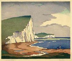 Cuckmere Haven Eric Slater - woodblock artist 1896-