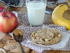 Big Peanut Butter and Apple Breakfast Cookies:      3/4 cup peanut butter     1 - 6oz container Greek Vanilla Yogurt     2 cups packed brown sugar     1 large egg     1 cup flour     1 cup whole wheat flour     2 teaspoons baking soda     3/4 teaspoon salt     1 cup rolled oats     1 medium apple, peeled and chopped