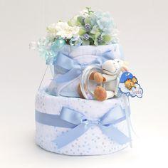 diaper cake w/aden+anais muslin swaddle | www.pannolini.jp #baby shower #おむつケーキ(ダイパーケーキ)