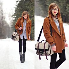 (by Nesairah Nesstyle) http://lookbook.nu/look/3033583-school-bag-brown-blazer