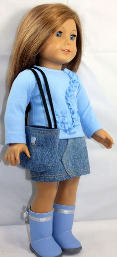 American Girl Doll Clothes-Denim Skirt and Shirt Outfit including Boots