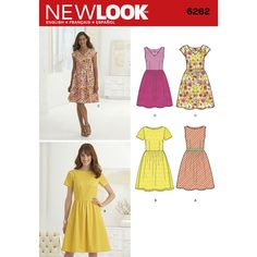 Misses' dress with full skirt can be made sleeveless, short sleeved or with cap sleeves. Add a ribbon around the waist or make it with a lace overlay. Dress can also have a V-neck or boat neckline. New Look sewing pattern.