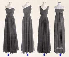 Gray bridesmaid dress, cheap bridesmaid dresses, chiffon bridesmaid dresses, dresses for prom, long bridesmaid dresses, RE407 on Etsy, $126.00