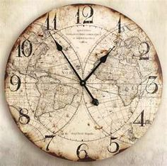 Old World Map Wall Clock - for travel theme nursey World Clock, World Map Wall, Big Clocks, Wall Clocks, Unique Clocks, Vintage Clocks, Decoupage, Old World Maps, Map Globe