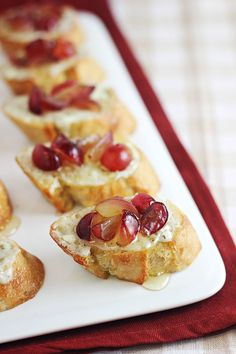 Grape Crostini with Blue Cheese Spread and Honey | Recipe | Cheese ...