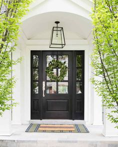 front porch ideas curb appeal There's no impression like a first impression, and that's true for your home, too. From dressing up your door to perking up your porch, these expert tips will wow guests from the moment they arrive. Front Door Porch, Porch Doors, Front Porch Design, Exterior Front Doors, Front Door Decor, Colonial Front Door, Farmhouse Front Doors, Arched Front Door, Double Front Entry Doors