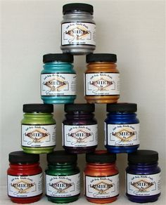 Individual Bottles of Lumiere Paint for painting shoes, purses, etc. made of leather, suede, or fabric.