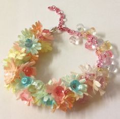 Upcycled  candy crystal flower charm bracelet by LovelyRuthies, £5.00