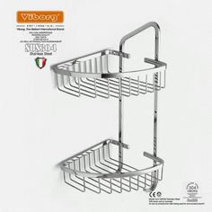 42.00$  Buy here - Viborg Deluxe Solid Thick 304 Stainless Steel Wire Double Tier Corner Shower Basket Shelf Tidy Rack Caddy Storage Organizer  #buychinaproducts