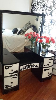 Black and White Vintage Art Deco Vanity/Makeup Table/Dresser. Antique vanity re-imagined and custom painted with a modern edge!