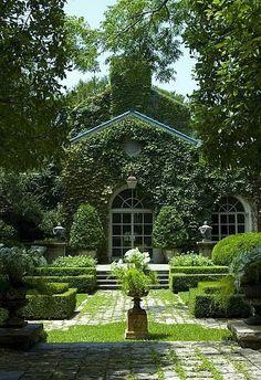 🌳Formal garden designed by . Beautiful Gardens, Beautiful Homes, Beautiful Places, Formal Gardens, Outdoor Gardens, Landscape Architecture, Landscape Design, Tiered Landscape, Green Architecture