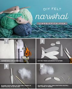 """Craft the high seas with our felt narwhal project! Craft a whole """"blessing"""" of these adorable little critters for some DIY fun today. Felt Diy, Handmade Felt, Felt Crafts, Whale Pattern, Felting Tutorials, Sewing Projects For Kids, Adventure Time Anime, Homemade Christmas Gifts, Sewing Toys"""