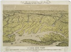 Panorama of the seat of war. Birds eye view of Virginia, Maryland Delaware and the District of Columbia. (1861)