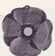 PDF Crochet Pattern - Poppy Pot Holder 201275 Vintage by EunicesTickleTrunk on Etsy