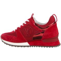 Pre-owned Louis Vuitton Run Away Suede Sneakers ($625) ❤ liked on Polyvore featuring shoes, sneakers, red, lace up sneakers, red lace up shoes, suede low top sneakers, low profile sneakers and round toe sneakers
