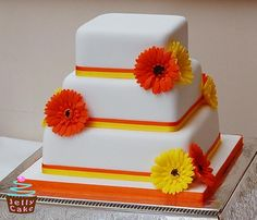 Orange & Yellow Gerberas Wedding Cake