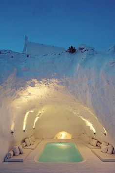 Cave hot tub among all this Ice, Santorini, Greece. it's fantastic and unique tub. please like and share. please like and share it to your timeline & friends: http://pinterest.com/travelfoxcom/pins/