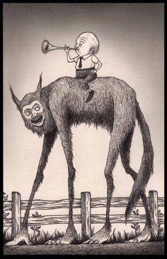 John Kenn Mortensen Ilustrador de figuras truculentas como son monstruos, fantasmas o demonios de temores infantiles. Creepy Drawings, Creepy Art, Edward Gorey, Monster Art, Arte Horror, Horror Art, Monster Illustration, Illustration Art, Don Kenn