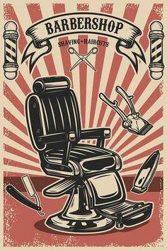 Barber chair and tools on grunge background. Design element for emblem, sign, poster, card, banner. Barber Poster, Barber Logo, Barber Tattoo, Retro Poster, Vintage Posters, Smal Tattoo, Barber Shop Decor, Barber Shop Vintage, Berber