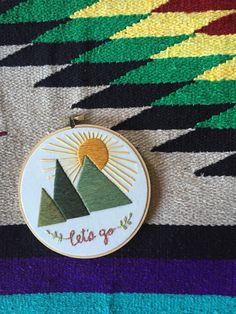 Hoop Art - Let's Go to the Mountains Embroidery Art in 6-inch Hoop (40.00 USD) by MountainsofThread