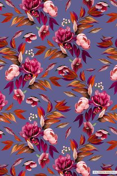 Floral romantic pattern composed of painted roses, peonies and leaves. Feminine and delicate composition. Illustration Rose, Pattern Illustration, Floral Illustrations, Flower Pattern Design, Surface Pattern Design, Flower Patterns, Iphone Wallpaper Tumblr Aesthetic, Romantic Flowers, Cute Backgrounds