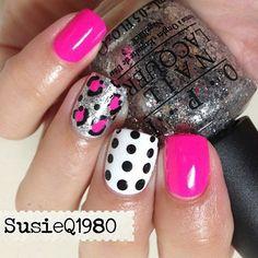 Hot pink fun nails