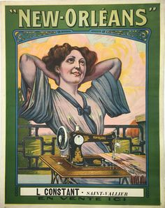 New Orleans original 1903 French product poster. Lithographic vintage advertisement for sewing machine.