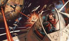 1940S Space Science Fiction art | Space Fight - Illustrations, Space