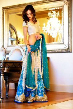 blue wedding lehenga  more inspiration @ http://www.ModernRani.com