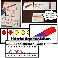 Math Coach's Corner: Number Bond Pictorial Representations.  This unit includes three sets of cards showing different pictorial representations: (1) linking cubes, (2) ten frames, and (3) double number lines.  Also includes: (1) a number bond mat that can be used with any of the cards for concrete learning, (2) a page with four blank number bond cards, and (3) a mat with a large blank number bond card.