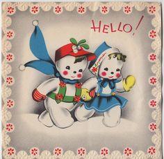 Vintage Greeting Card Christmas Snowman Mr & Mrs Cute Snow Couple v926