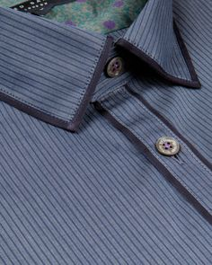 ITSAGUY - Dobby stripe shirt - Blue | Men's | Ted Baker UK