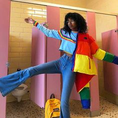 toilet in the bacc cus im da SHIT 🌈 (i look rlly sad bc i took this post-lecture and pre-work , LETS GET THIS BREAD) Top + puffer:… Fashion 90s, Cute Fashion, Girl Fashion, Fashion Outfits, Fashion Trends, Retro Fashion, Vintage Outfits, Retro Outfits, Cool Outfits