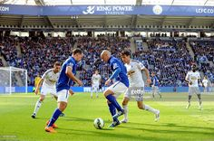 Esteban Cambiasso and Danny Drinkwater of Leicester City in action... News Photo | Getty Images