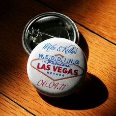 Personalized Vegas Wedding Buttons
