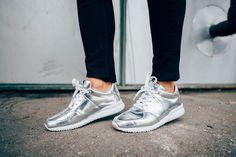 Shiny Silver Sneakers // Just My Imagination Nike Cortez, Imagination, Sneakers Nike, Silver, Shoes, Fashion, Nike Tennis, Moda, Zapatos