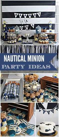 """Nautical Minion / Birthday """"Nautical Birthday with Special Guests! 5th Birthday Party Ideas, Minion Birthday, Minion Party, 1st Boy Birthday, First Birthday Parties, First Birthdays, Baby Shower Marinero, Nautical Party, Nautical Baptism"""