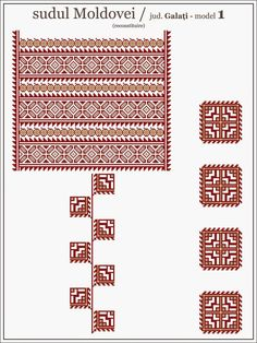 Semne Cusute: model de ie din Galati, MOLDOVA Embroidery Motifs, Embroidery Designs, Cross Stitch Charts, Cross Stitch Patterns, Beading Patterns, Knitting Patterns, Blackwork, Swedish Weaving, Folk Fashion
