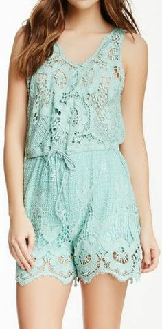 Mint Cover Up  Lace Romper ♥