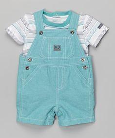 Another great find on #zulily! White Stripe Tee & Aqua Shortalls - Infant by Calvin Klein Jeans #zulilyfinds