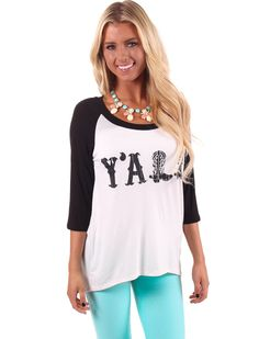 Lime Lush Boutique - Black Y'all Baseball Style Top , $29.99 (http://www.limelush.com/black-yall-baseball-style-top/)