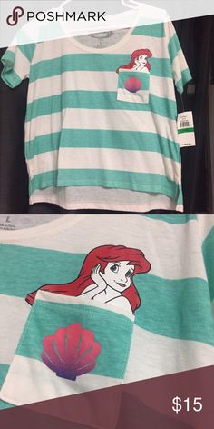 Little Mermaid Pocket Tee Made in China 60% Cotton 40% Polyester Disney Tops Tees - Short Sleeve