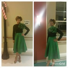 Emerald green silk dupioni circle skirt + double knit top