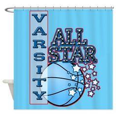 Varsity All-Star Basketball Shower Curtain $49.00 #basketball #cafepress