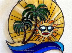 Stained Glass Suncatcher Beach Scene with Palm Trees and